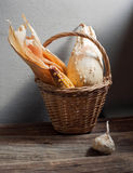 Wicker basket, corn, garlic, pumpkin, zucchini. Still life with wicker basket, corn, garlic, pumpkin, zucchini Royalty Free Stock Images
