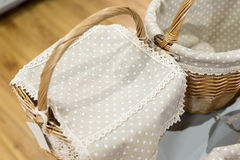 wicker basket covered with a cloth Royalty Free Stock Photography