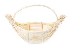 Wicker basket decorated on white Stock Image