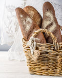 Wicker basket with different types of freshly Stock Photography