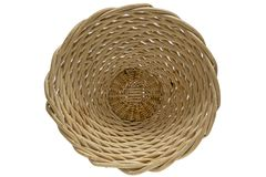 Wicker basket dish for flowers and vegetables royalty free stock photos