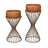 Wicker basket display vine stand isolated Royalty Free Stock Photography