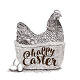 Wicker basket with Easter bunny, spring chickens, colorful flowers, painted eggs and willow twigs isolated on white. Hand drawn wicker basket with Easter Chicken Stock Photo