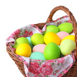 Wicker basket with Easter eggs. Close-up wicker basket with Easter eggs  isolated on a white background Royalty Free Stock Image