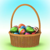 Wicker Basket with Easter Eggs 3D Royalty Free Stock Photos