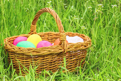 Wicker basket with Easter painted eggs Stock Photos