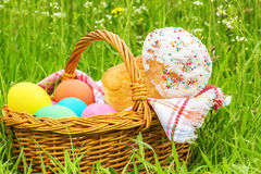 Wicker basket with eggs and Easter cake Royalty Free Stock Photography