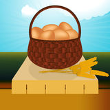 Wicker basket with eggs on the table Stock Photography