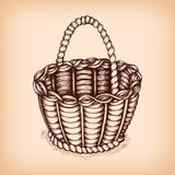 Wicker basket emblem Stock Images