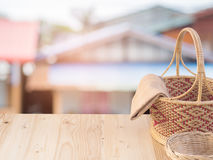 Wicker basket and fabric. Royalty Free Stock Image
