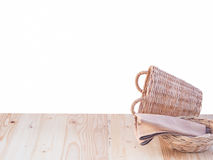 Wicker basket and fabric on wooden terrace pine. Stock Photos