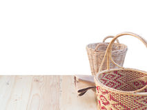 Wicker basket and fabric Stock Image