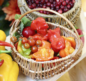 Wicker basket filled with fresh fruit and vegetables Royalty Free Stock Images