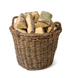 Wicker basket filled with wood Royalty Free Stock Photo