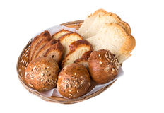 Wicker basket with fresh bread. Stock Photography