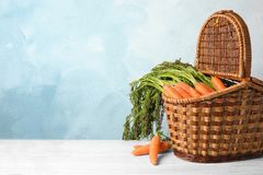 Wicker basket with ripe carrots on table. Wicker basket with fresh ripe carrots on table Royalty Free Stock Photo