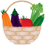 Wicker Basket of Fresh Vegetables. Wicker basket filled with carrots, eggplant (aubergine), tomato, celery and squash (zucchini Royalty Free Stock Photography
