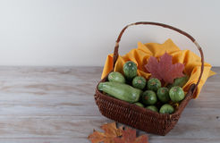 Wicker Basket with Fresh Vegetables Stock Photos
