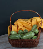 Wicker Basket with Fresh Vegetables Stock Photo