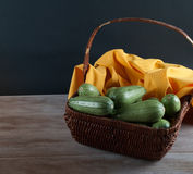 Wicker Basket with Fresh Vegetables Stock Image
