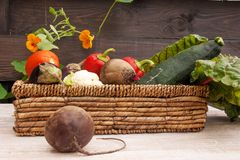 Wicker basket with fresh vegetables on wooden background. royalty free stock photography