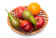 Wicker basket with fruit Stock Photo