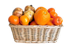 Wicker basket with fruits Royalty Free Stock Image