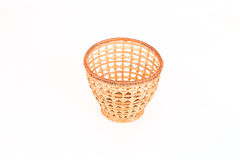 Wicker basket for fruits isolated on white background Royalty Free Stock Photography