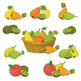 Wicker basket and fruits set Royalty Free Stock Images
