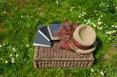 Wicker basket full of books and retro hat on grass Stock Photo