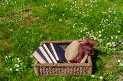Wicker basket full of books and retro hat in lawn Stock Images