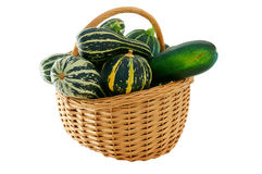 Wicker basket full of courgettes Stock Photography