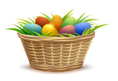 Wicker basket full of Easter eggs on grass Royalty Free Stock Photo