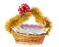 Wicker basket full of euro bills. Royalty Free Stock Image