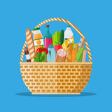 Wicker basket full of groceries products. Grocery store. vector illustration in flat style Royalty Free Stock Photo