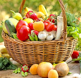 Wicker basket full of healthy food Royalty Free Stock Image