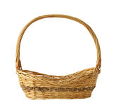 Wicker basket. Wicker gift basket isolated on white background Royalty Free Stock Photography
