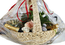 Wicker Basket With Gifts Stock Images