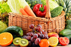 Wicker basket with groceries. Balanced diet.  Stock Images