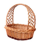 A wicker basket with handle. royalty free stock photography
