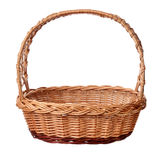 A wicker basket with handle. stock photos