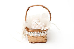 Wicker basket with  heart and button Stock Image