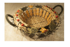 Wicker basket with inlay Stock Images