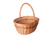 Wicker basket isolated on white Royalty Free Stock Photos