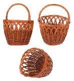 Wicker basket isolated on white Royalty Free Stock Images