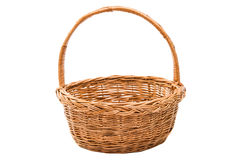 wicker basket isolated stock photo