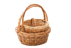 wicker basket isolated Stock Image