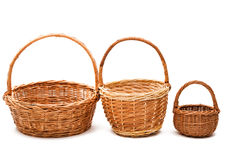 wicker basket isolated Royalty Free Stock Photo