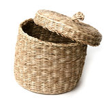 Wicker basket isolated on white background close up Royalty Free Stock Image