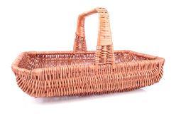 Wicker basket isolated on the white background Royalty Free Stock Photography